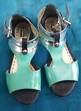 MIMCO Teal Blue Green Silver Black Strappy Sandals Patent All Leather Size 36