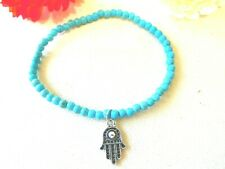 NEW Anklet Beaded Turquoise Hand of Hamsa Jewelry US Seller Stock