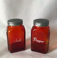 RED GLASS SALT & PEPPER SHAKERS Red Glass DEPRESSION STYLE Range Size RETRO New