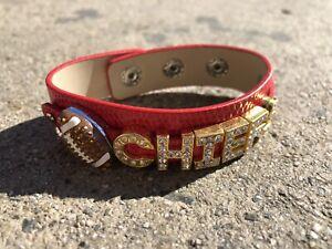 Kansas City Chiefs Rhinestone Football Bracelet / Chiefs Fan / NFL Fan