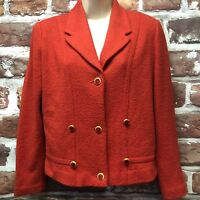 Vtg Castleberry Knits Womens Sz 10 Red Santana Knit Enamel Button Blazer Jacket