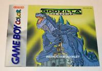 MANUAL ONLY Godzilla: The Series Nintendo Gameboy Color Instruction Booklet
