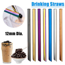 3x Reusable Stainless Steel Straight Boba Bubble Tea Drinking Straw 12mm Wide~