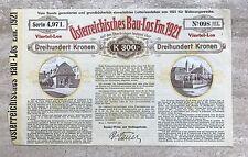 Osterreichisches Bau-los Em. 1921 Stock Certificate Austria