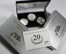 2006 AMERICAN SILVER EAGLE 20th ANNIVERSARY 3 COINS SET BOX/COA