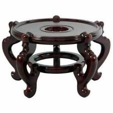 Plant Stand Round Wooden Display Indoor Outdoor Fish Bowl Rosewood Patio Holder