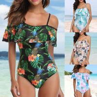 Damen Monokini Rüschen SchulterfreiBademode  Volant Badeanzug Einteiler