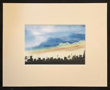 """Sunset Over The City original mounted pastel painting 10""""x8"""" G.Burgess Cornwall"""