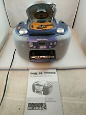 PHILIPS MAGNAVOX AZ1111/17 AM-FM RADIO Cassette CD Player Portable Boombox