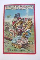 "1911 ""Jungle Lovers"" Series Postcard w/ Tiger Couple w/ Fan & Cigar  *"