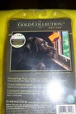 DIMENSIONS GOLD COLLECTIONS PONDERING PUP COUNTED CROSS STITCH, NEW