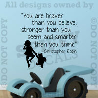 Stronger Braver Winnie Pooh Christopher Robin Quote Vinyl Wall Decal Sticker