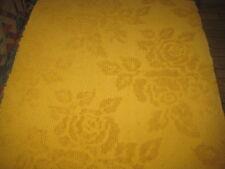 Vintage Harvest Gold Rose Hobnail Chenille Bedspread Fabric~21 x 27