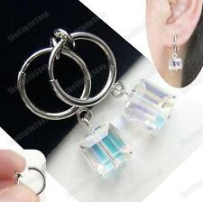 CLIP ON small CRYSTAL CUBE DANGLE EARRINGS silver plated AB AURORA hoop clips