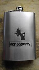 """rick and morty """"get schwifty"""" themed flask"""