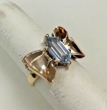 10K Gold two tone Bow Ring with synthetic Aquamarine Gem Stone  Size: 5