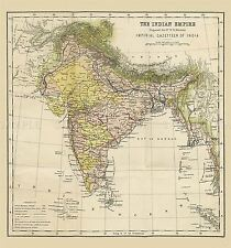 More details for map repro antique hunter imperial gazetteer india empire large art print lf894