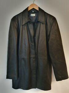 Vintage WOODLANDS Genuine Leather Long Jacket Size UK18