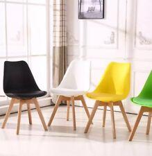 4x Chaises Salle à manger Jambe En Bois -Design Nordique Noir/Gris/Jaune/Blanc