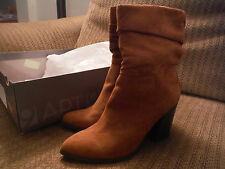 NEW in Box Apt 9 Tan Fabiola 7M Suede Mid Calf Womens Boots