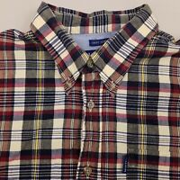 IZOD Men's Button Up Shirt Short Sleeve Size Large Plaid Blue Red Yellow