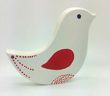 WHITE DOVE SIGN MDF RHINESTONE ORNAMENT CHRISTMAS DECORATION SHABBY CHIC HOME