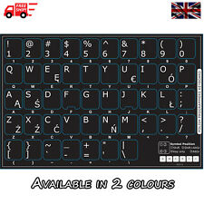 Polish Non-Transparent Keyboard Stickers Computer Laptop PC in 2 Colours!