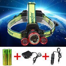 CREE 35000LM Headlamp XM-L 3 x T6 LED Headlight 18650 Light Charger Battery USA
