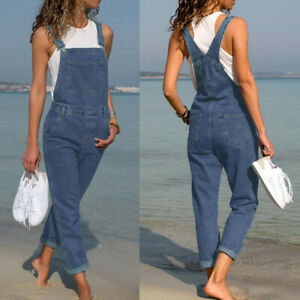 Womens Denim Jumpsuit Casual Dungarees Overalls Straps Ripped Jeans Trousers