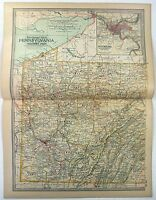 1897 Map of Western Pennsylvania by The Century Company. Original Antique Map