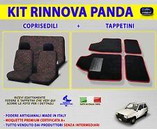 Per Fiat Panda Young Coprisedili e tappetini tappeti auto rosso nero in moquette