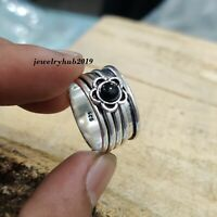 925 Sterling Silver Ring Spinner Ring  Black Onyx Ring Size 6 wwe40