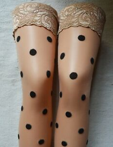 Nude Polka Dot Lace Top Stockings Lycra Silicon Hold Up