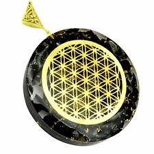 Black Tourmaline Sacred Geometry Orgone Pendant Flower Life Orgonite Necklace