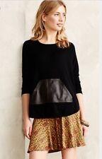 "Anthropologie ""Leather Pocket Pullover"" by La Fee Verte--M"