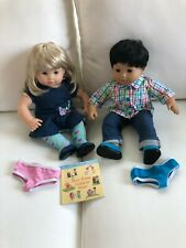 AMERICAN GIRL BITTY TWIN DOLLS BLOND & BLACK HAIR IN ORIG CLOTHES & BOOK & BOX