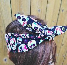 Day Of Dead Blue Multi Colored Skull Wide Headband NWT