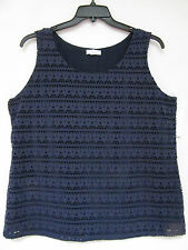 NWT Charter Club Woman 1X Navy Blue Shell Sleevless Blouse Top Eyelet Lined NEW