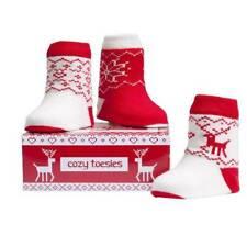 Elegant Baby Fairisle Knit Cozy Toesies Socks Infant Holiday Christmas Reindeer
