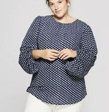4X Ava & Viv Womens Plus Flare Long Sleeve Blouse Top Blue Navy Polka Dot NWT
