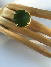 R9 antique JADEITE RING natural un-treated DEEP GREEN size 7 sterling/14k c.1900
