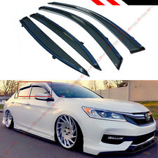FOR 2013-17 9TH GEN HONDA ACCORD CLIP-ON TYPE SMOKE WINDOW VISOR W/ CHROME TRIM