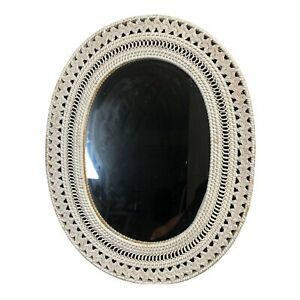 Vtg Wicker Wall Mirror Large White Oval Round Woven Home Decor 22 in x 17.5 in