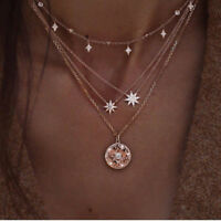 Multi layer Gold Chain Choker Crystal Necklace Women Star Moon Pendant Jewelry S