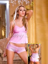 Sexy Pink Satin Stretchy Camisole with Boy Shorts (fits S & M) 2733