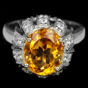 NATURAL AAA ORANGISH YELLOW CITRINE & WHITE CZ STERLING 925 SILVER RING 7.75