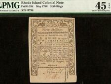 UNC 1786 RHODE ISLAND COLONIAL CURRENCY NOTE PAPER MONEY RI-294 PMG 45 EPQ