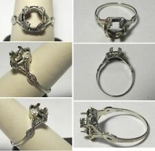 J845 Antique 20K Solid White Gold Ladies Ring Mount for Diamond w/Sapphires Sz 9