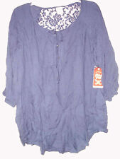 FADED GLORY TEXTURE TIE FRONT BLOUSE BLUE SAPPHIRE 1X (16w) LACE CONTRAST  NEW