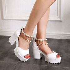 Summer Beaded Sandals Women's Ankle Strap High Heels Peep Toe Platform Shoes New